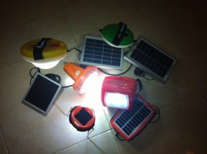 A range of solar powered lights SolarAid is bringing to African villages