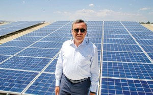 Başkanı Hasan Köktaş shows off Prokon's Ankara-Kazan solar panels - one of the biggest installations in Turkey
