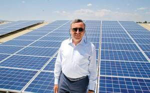 Başkanı Hasan Köktaş shows off Prokon's Ankara-Kazan solar panels - one of the biggest installations in Turkey
