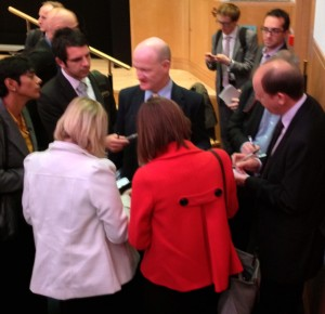 David Willetts MP, Minister of State for Universities and Science, talks to journalists at launch of FutureLearn., September 2013.
