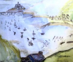 Swansea Bay, watercolour by Eva Davies
