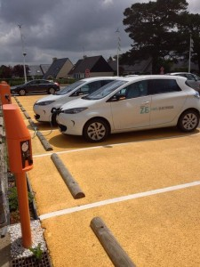 Electric cars recharge at Leclerc  hypermarket, Pont l'Abbé in Brittany, France.